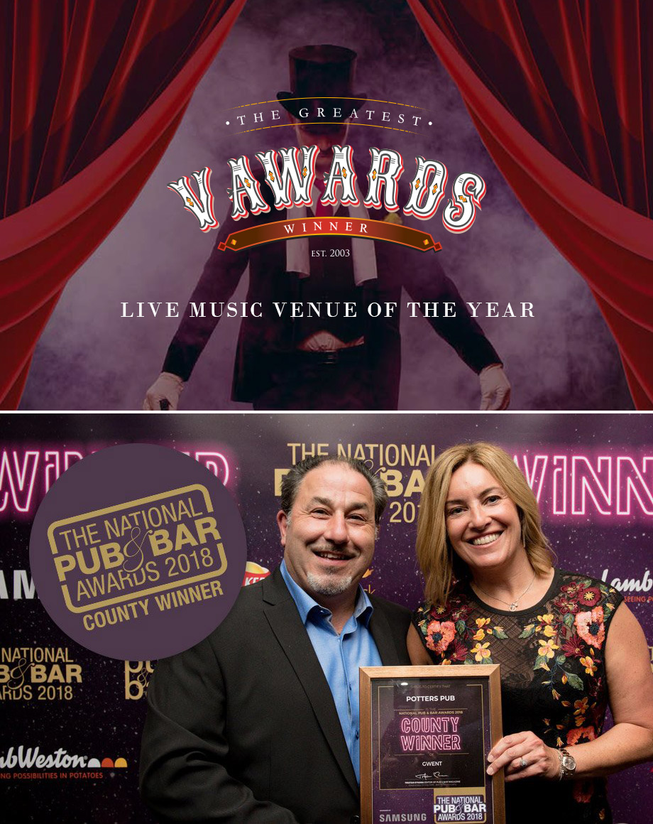 Potters V-Awards Live Music Venue of the Year 2018 - The National Pub & Bar Awards County Winner 2018